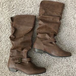 Shoes - Almond toe tan knee high boots size 9